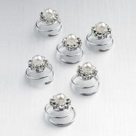 Curlies mit Glitzersteinen und kleiner weißer Perle