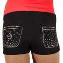 Sagester Hot Pants mit Swarovski Taschen schwarz