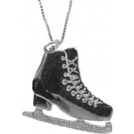 Sagester Schmuck silberne Kette mit Eiskunstlauf-Anhänger Schlittschuh