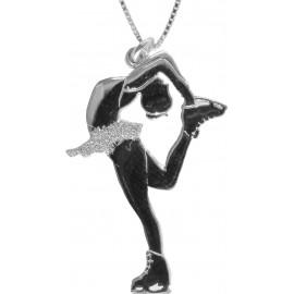 Sagester Schmuck silberne Kette mit Eiskunstlauf-Anhänger Pirouette
