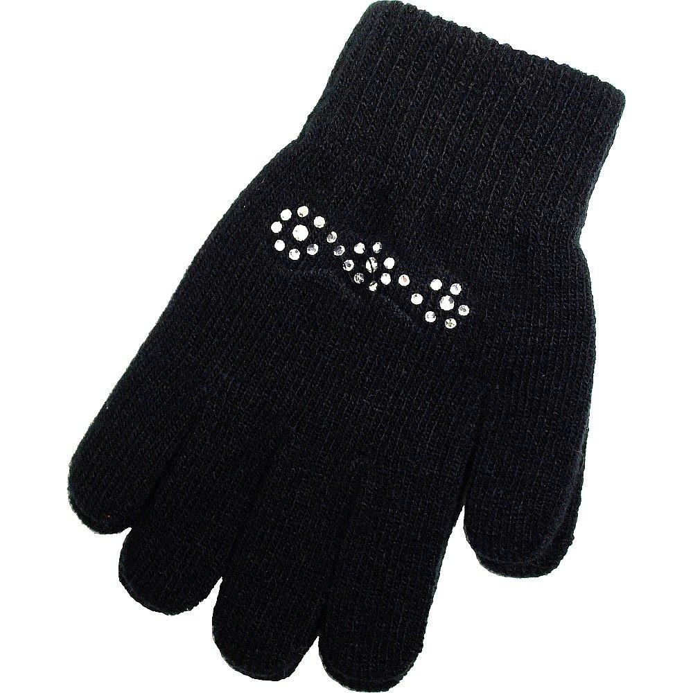 Handschuhe mit Glitzersteinen, schwarz