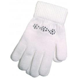 Handschuhe mit Glitzersteinen, weiß