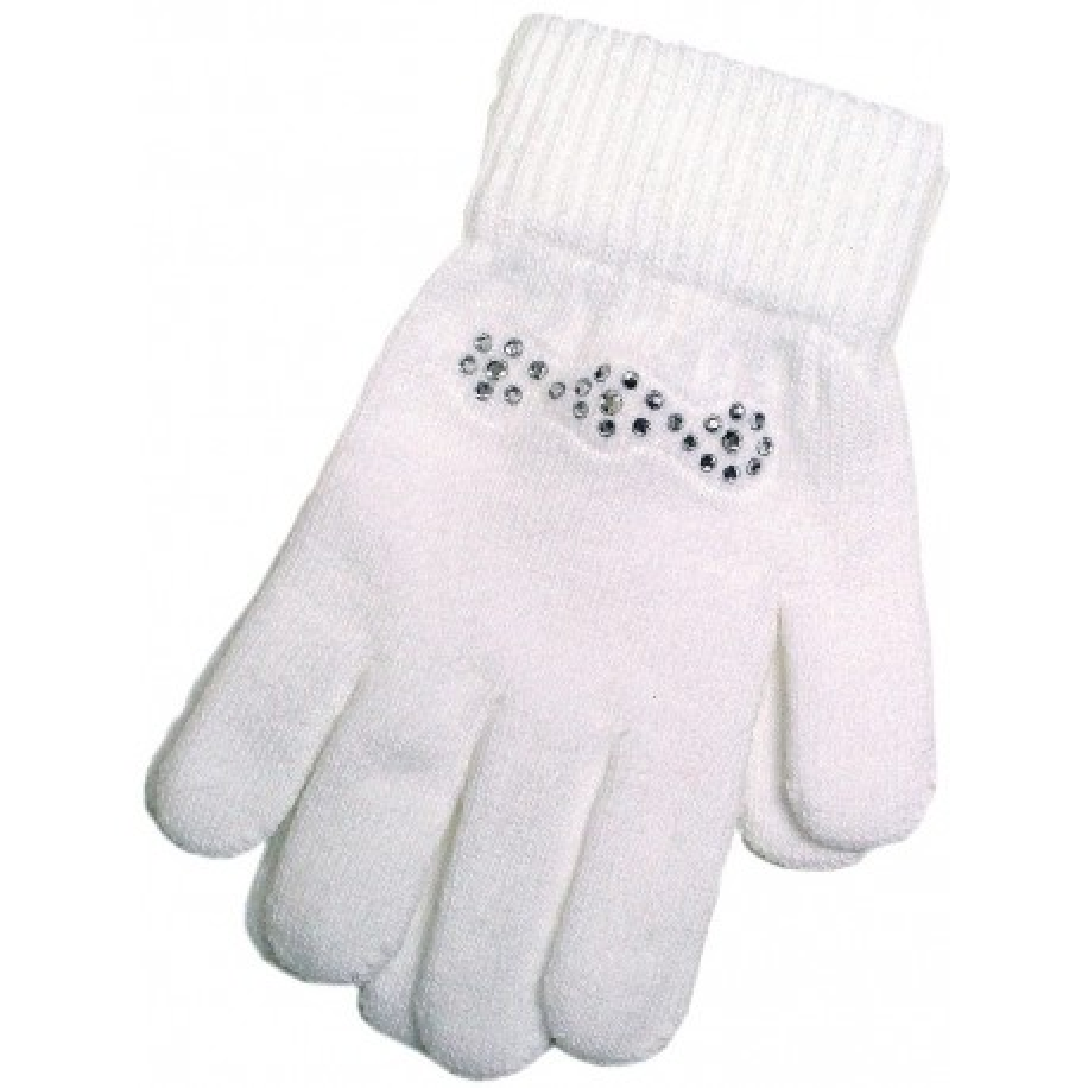 Weiße Kinder-Handschuh mit Glitzersteinen